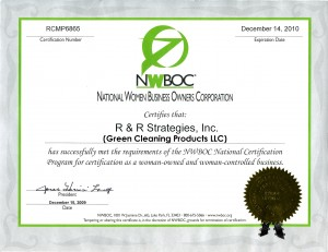 Green Cleaning Products has WBE Certification from NWBOC