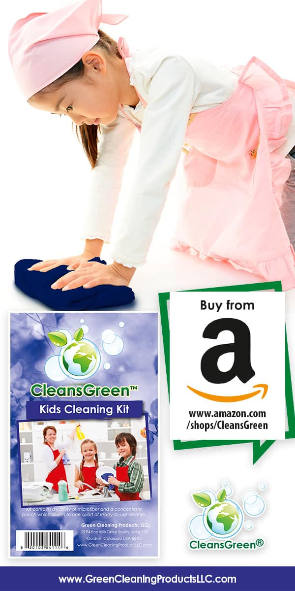 CleansGreen Kids Cleaning Kit by Green Cleaning Products LLC - CleansGreen Kit with Green Agents and Microfiber Cloth PLUS 3 BONUS Supplies of Reusable Wipes, Rags Best for All Natural, Organic, Biodegradable, Safe, Non Toxic, Clean Results